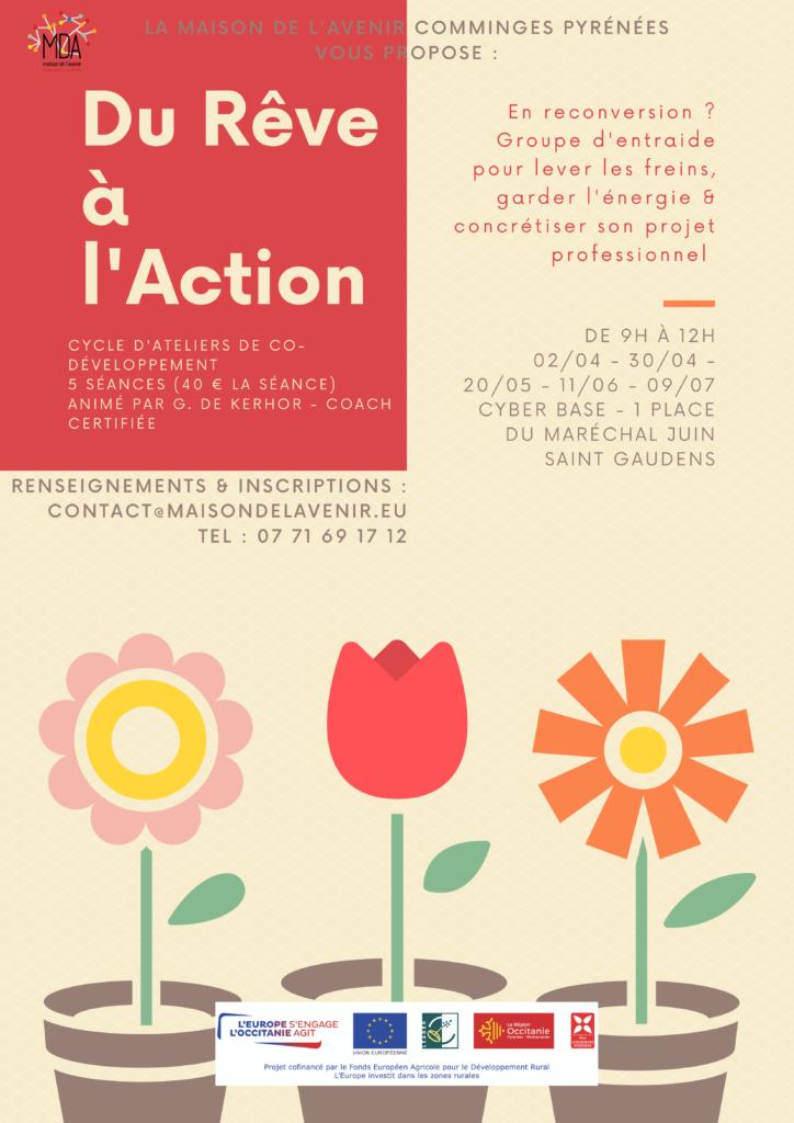 Affiche des ateliers du cycle du rêve à l'action